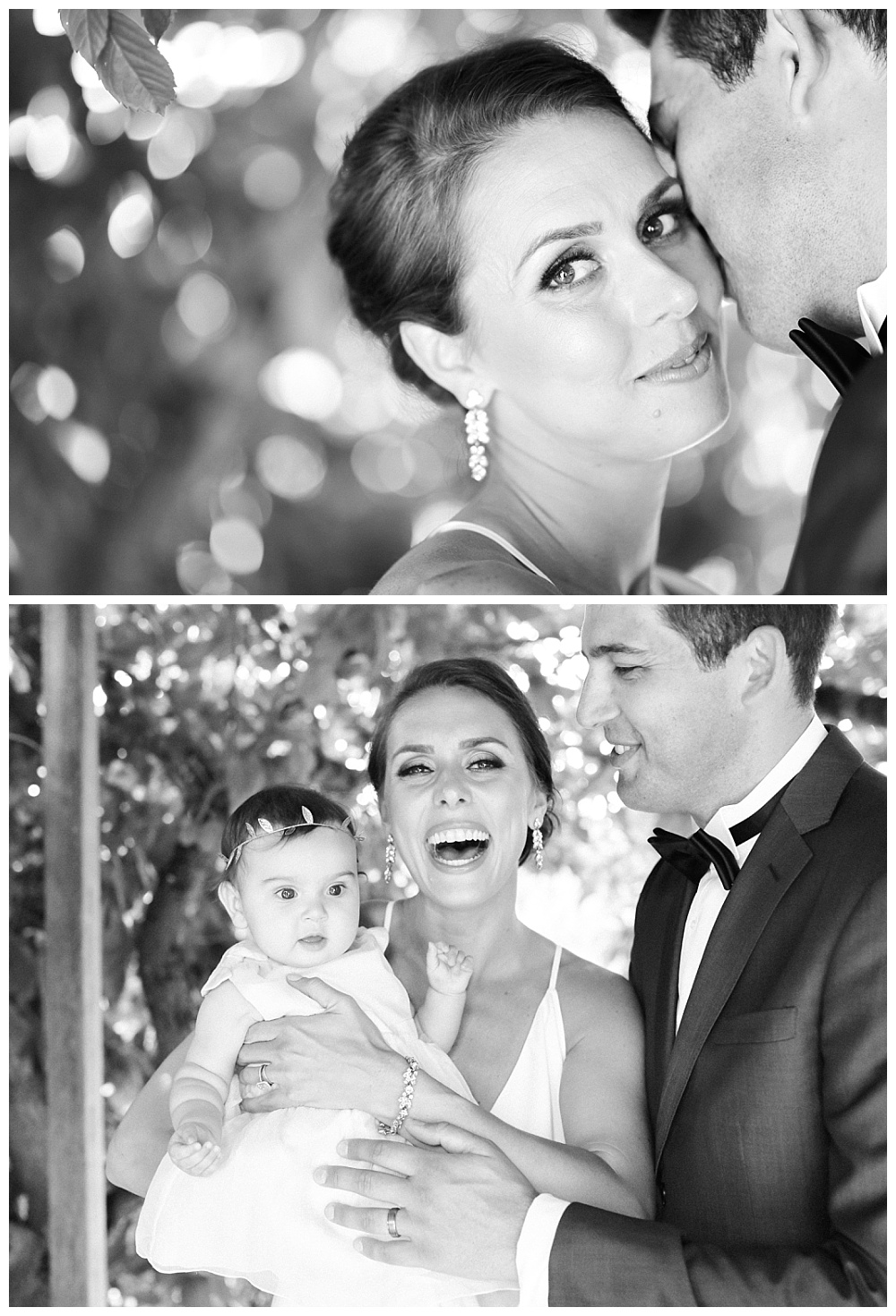 family bridal photos at red ridge farm, mom laughing with infant daughter in burberry dress