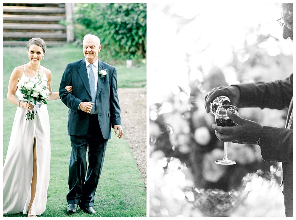 bride and father walking down the aisle, glasses of wine mixing together as a part of ceremony