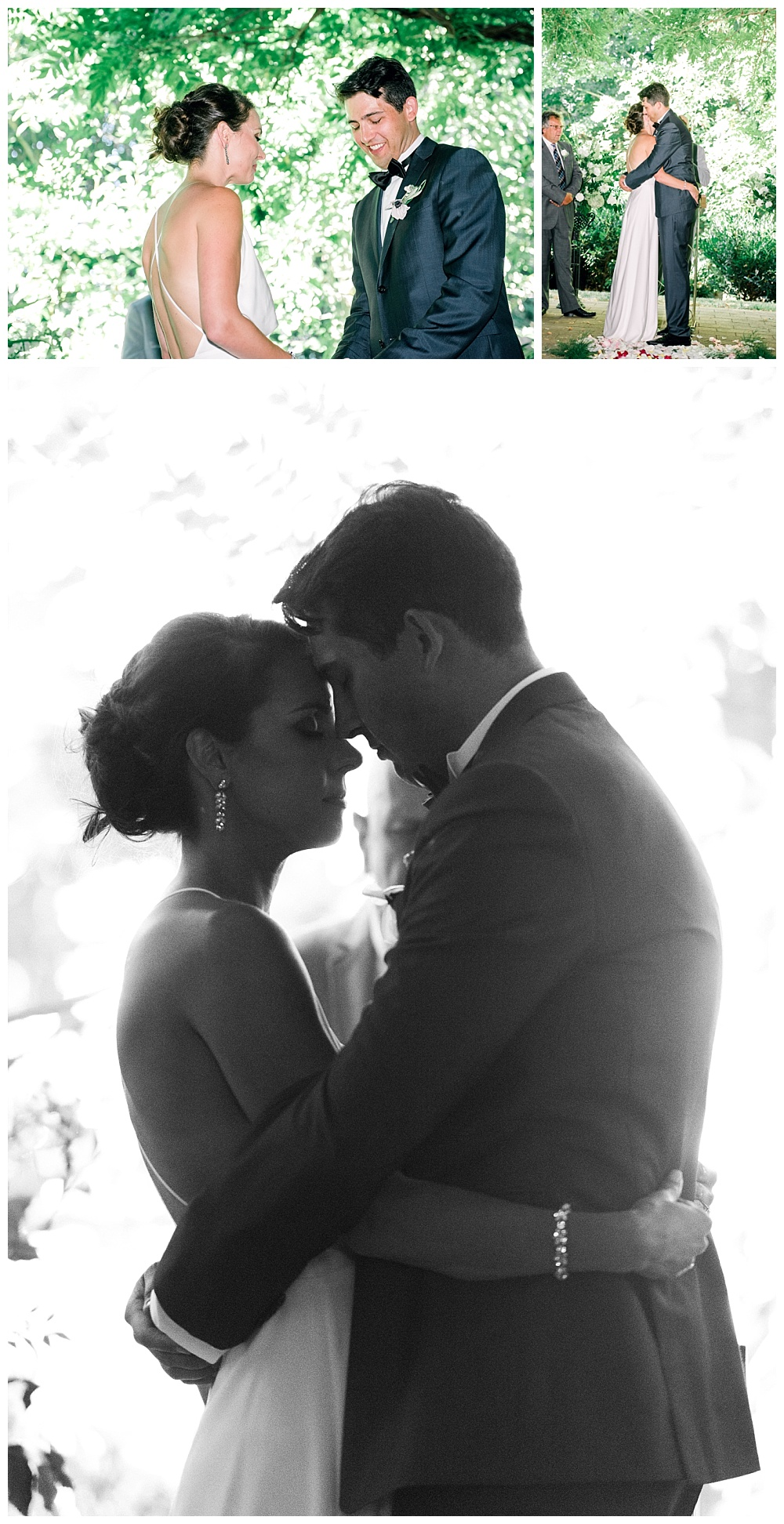 romantic and intimate moment between bride and groom at altar, silhouetted against the background