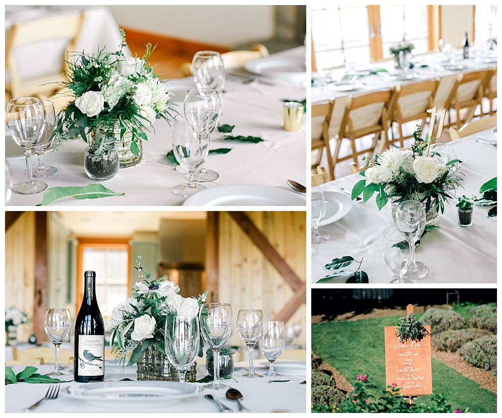 wedding reception placesetting with wine and flowers atred ridge farms event space