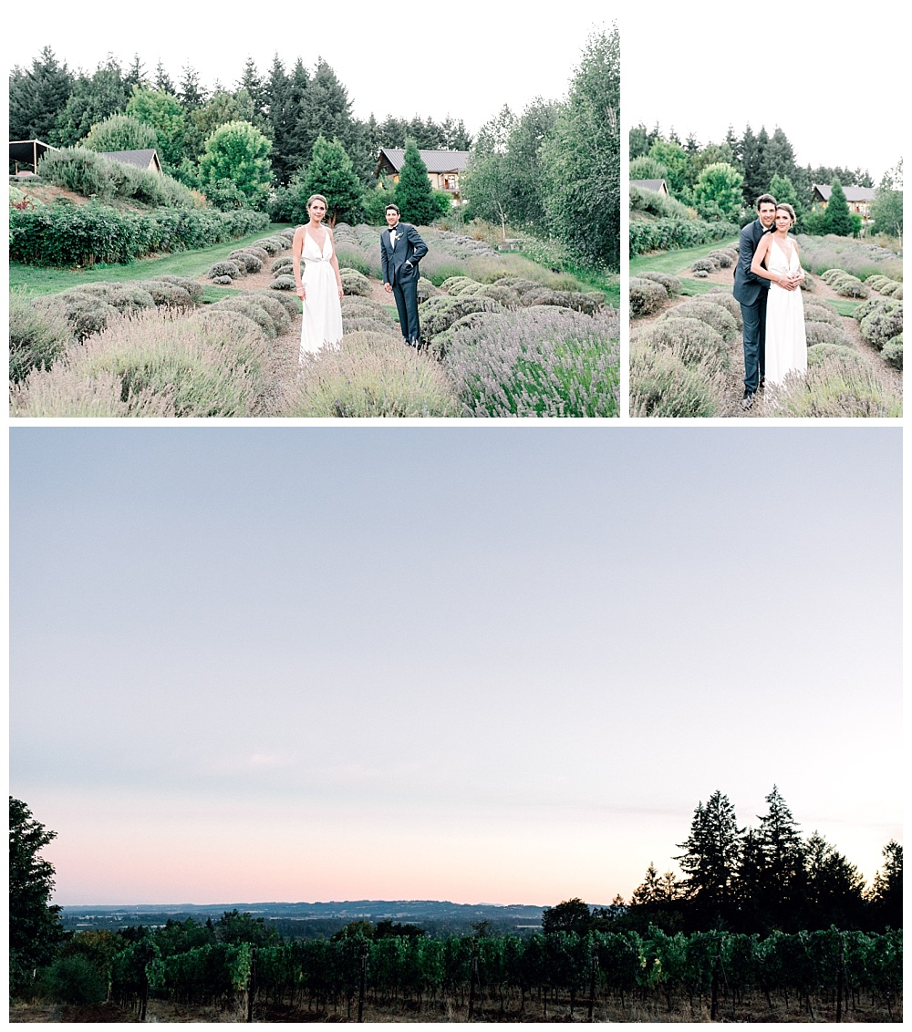 bride and groom portraits walking through lavender fields at sunset