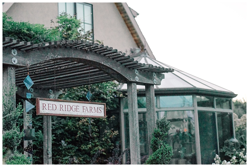 red ridge farms entrance gateway and signage in the willamette valley of oregon wine country.