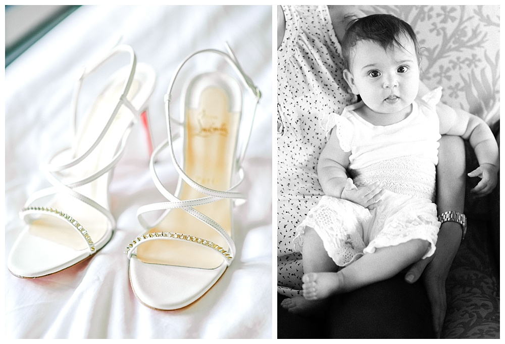 bridal shoes on white background with cute baby looking at camera.
