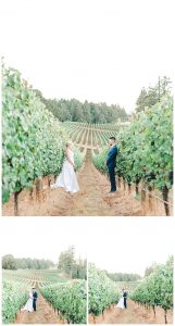 symmetrical photo of bride and groom phasing each other looking in love, centered within a vineyard row