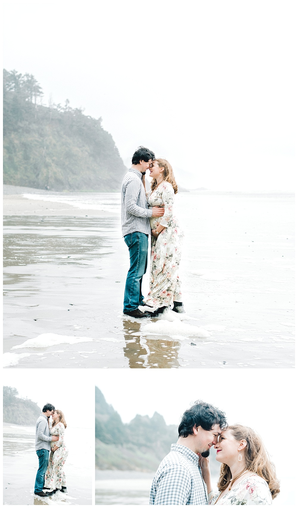 Maternity photo near Cannon Beach, OR - rain boots and floral dress on the coast