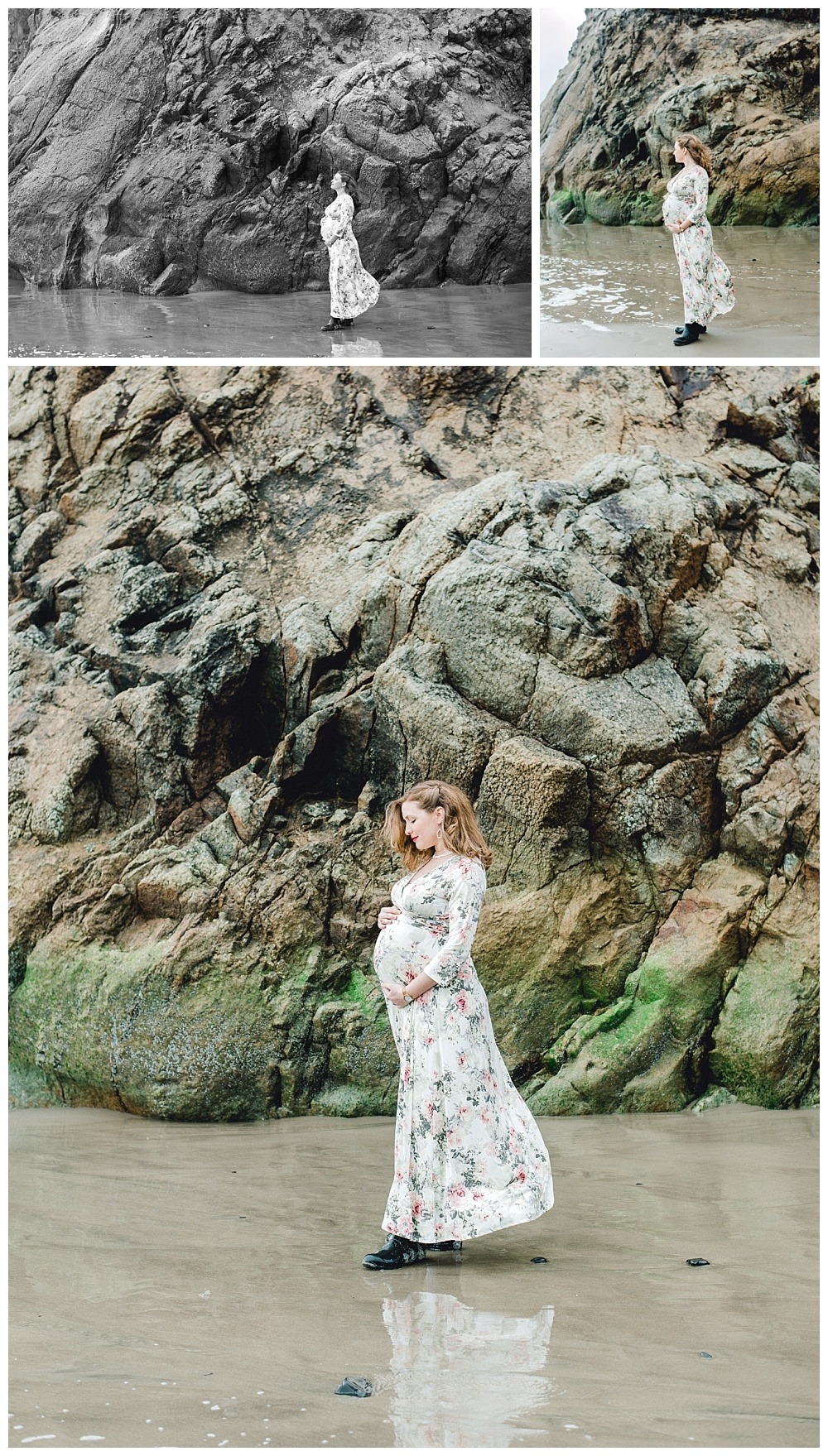 beautiful maternity portrait of mother in floral dress with oregon coastal cliff behind her near Cannon Beach.