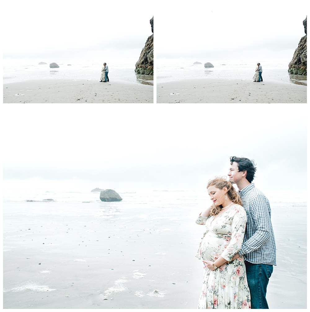 couple embracing against the oregon coast wind for their maternity session