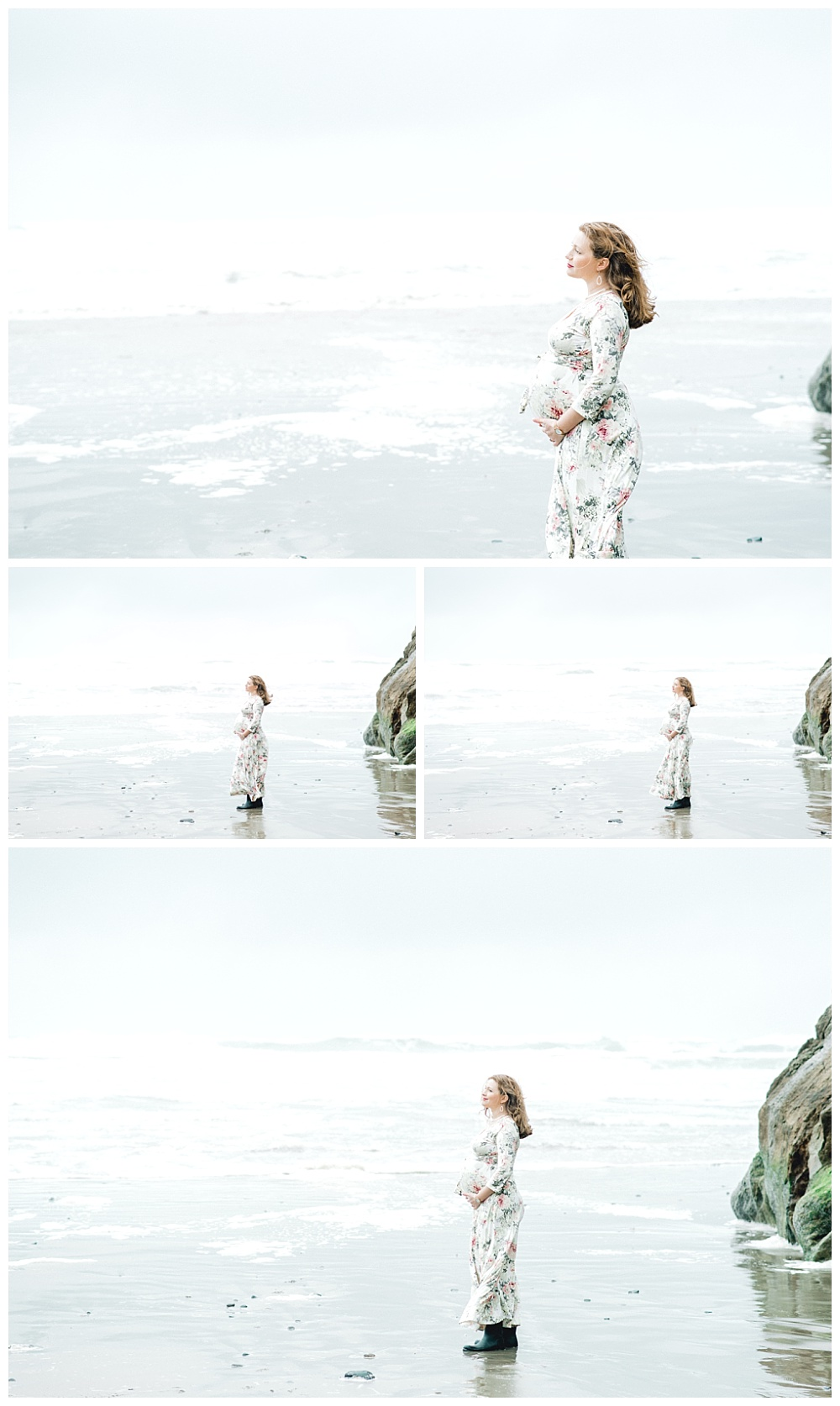 maternity session with prengant mother on beach in bright blue floral dress, foggy and windy weather
