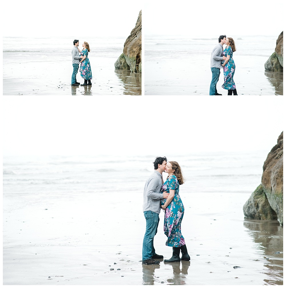 Maternity photography near Cannon Beach, OR - rain boots and floral dress on the coast