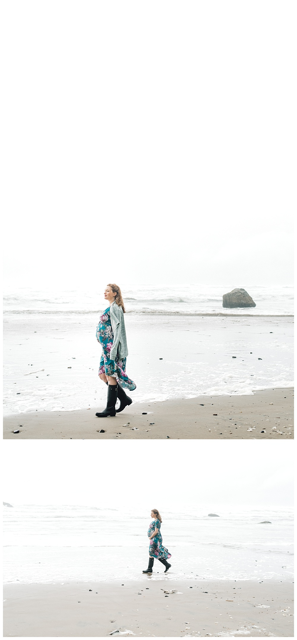 Maternity photos of couple walking on beach near hug point and Cannon Beach, OR