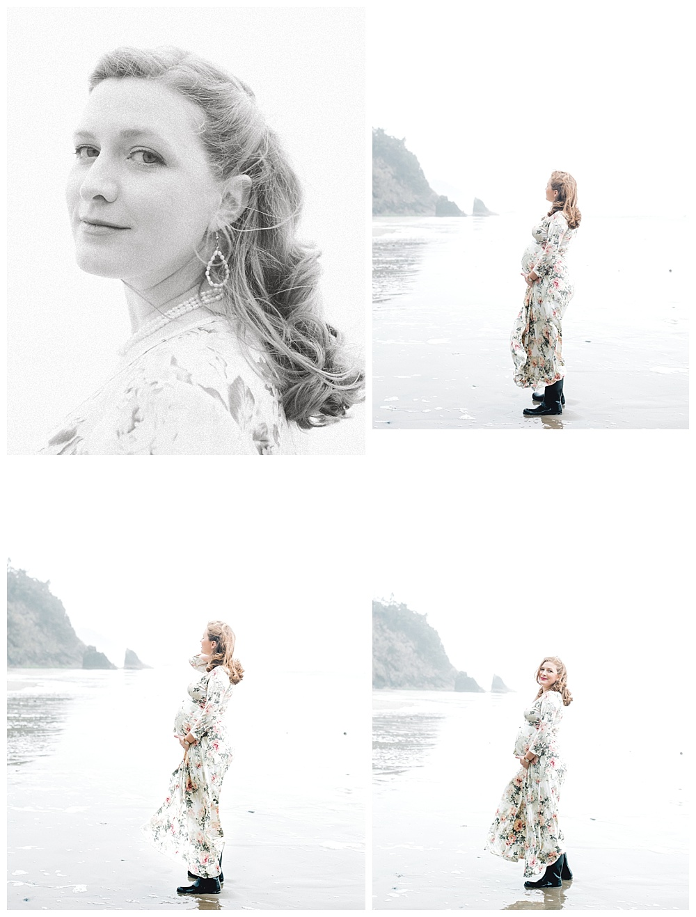 soft maternity portraits on oregon coast near hug point, series of photos of mother fixing hair in wind and looking wistfully to rocks off the shore