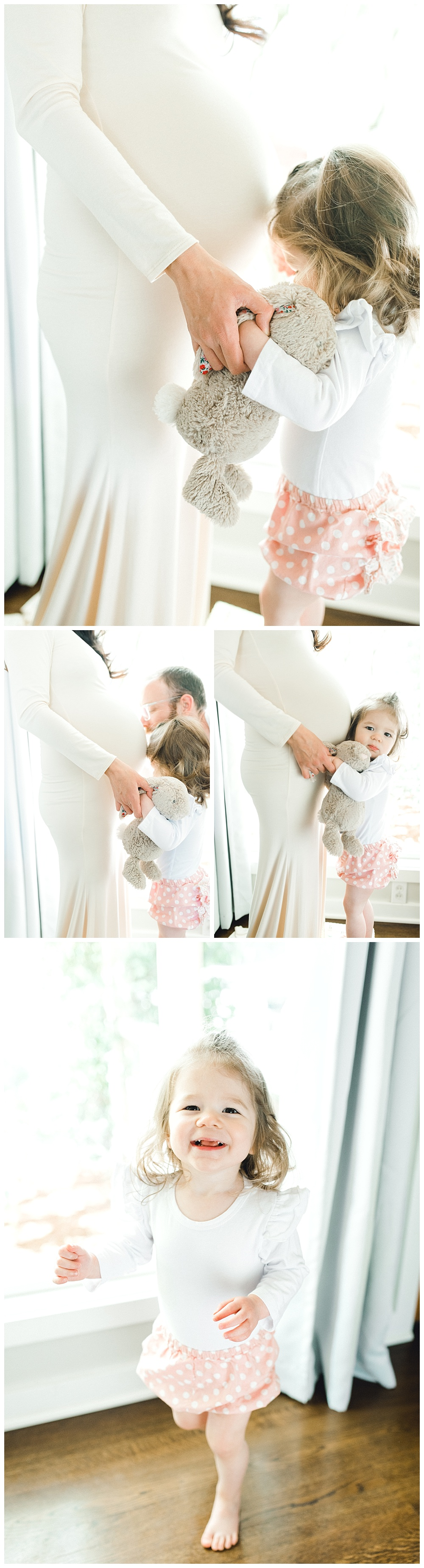 joyful family and maternity portraits. pregnant mommy playing with child