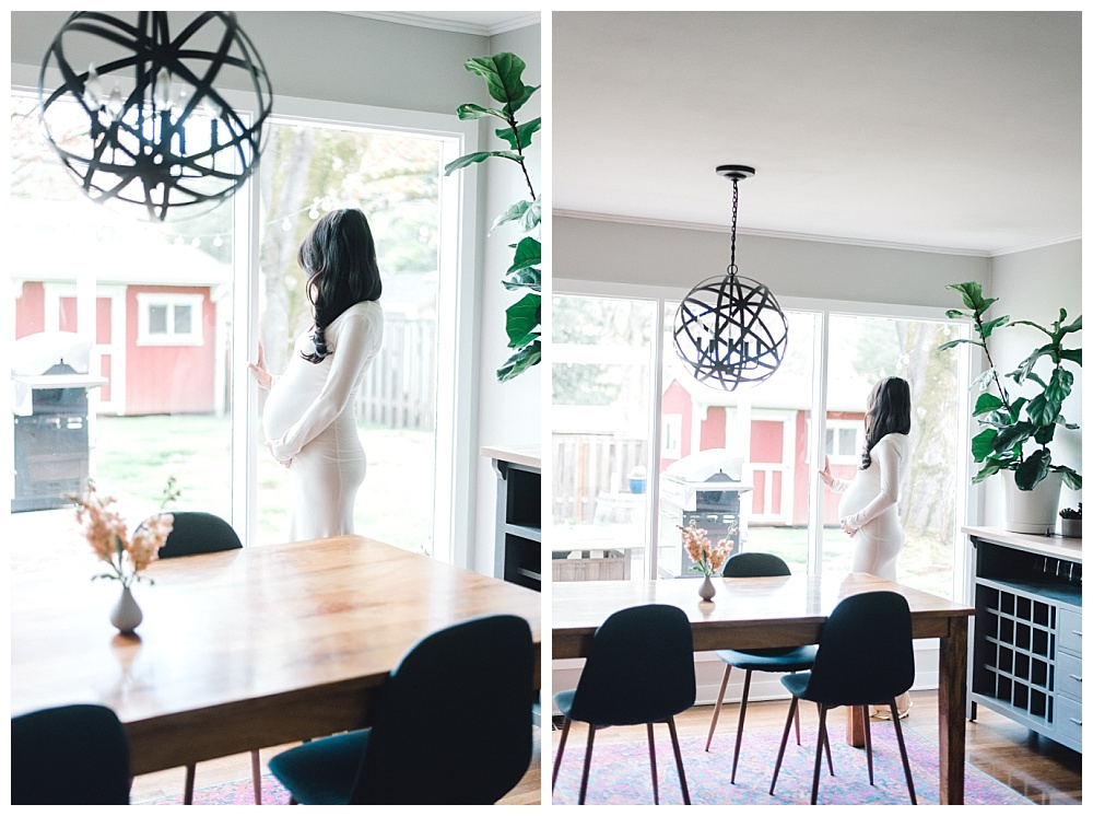 maternity photo of mother in beautiful midcentury modern dining room