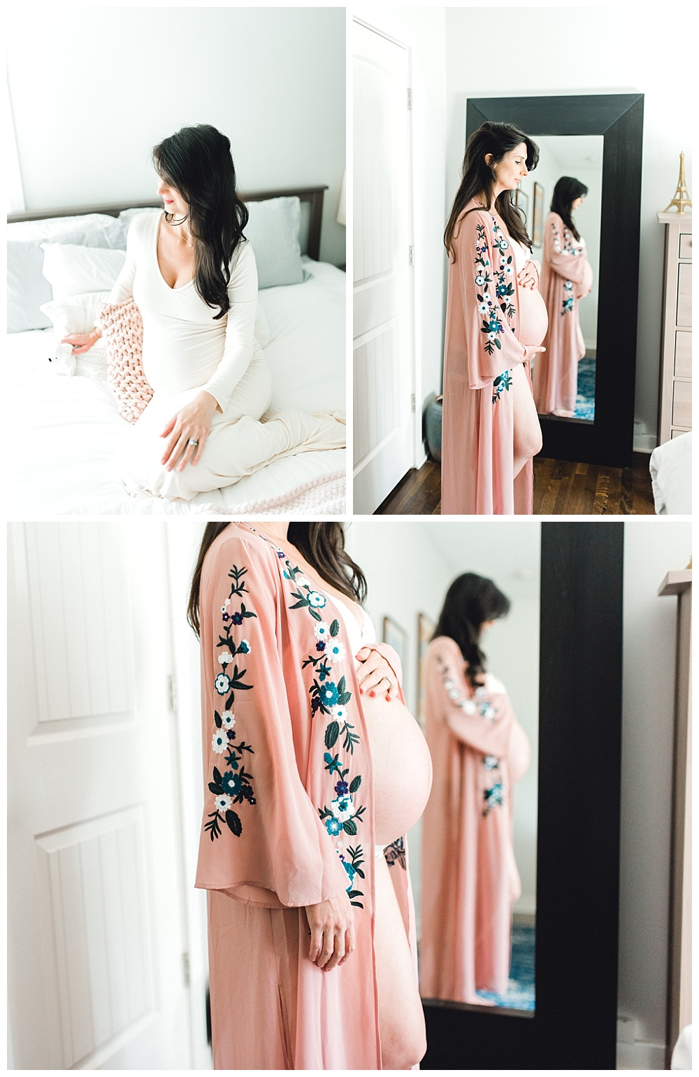 series of photos of pregnant mother cradling belly in pink kimono in her Beaverton Oregon home.