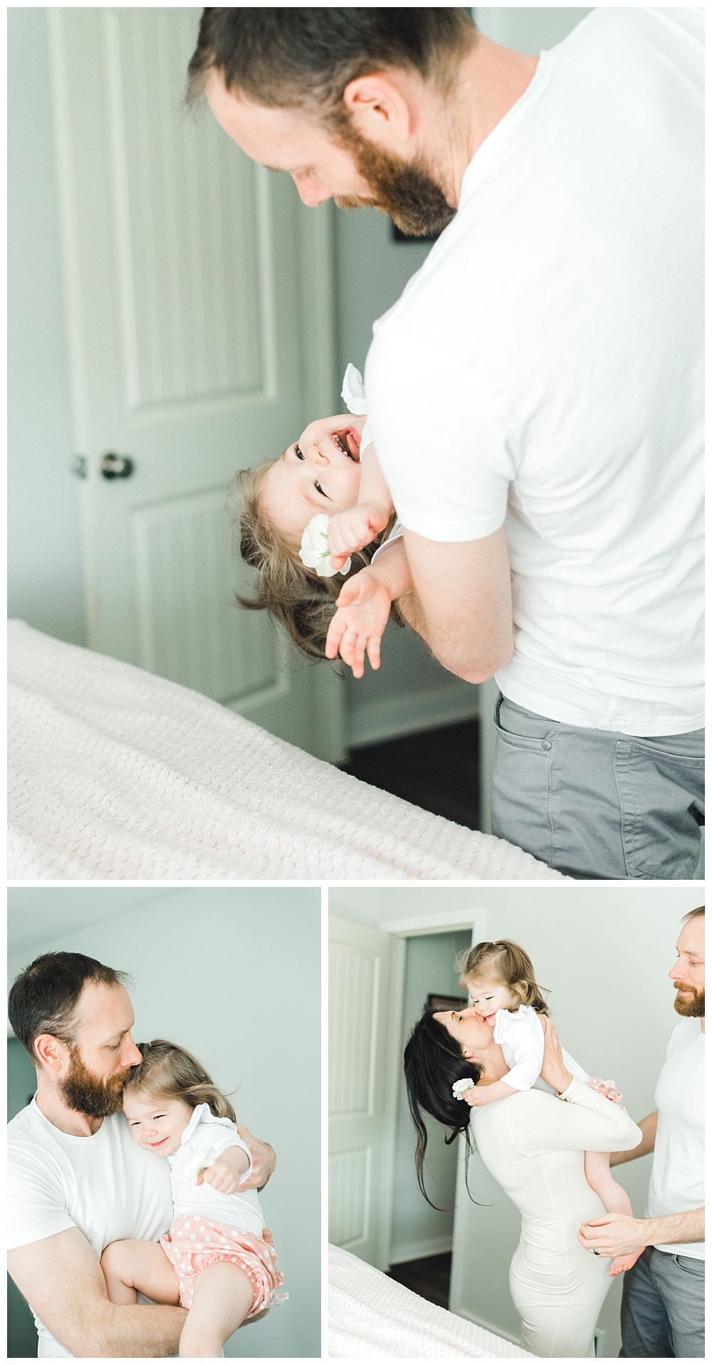 father goofing around with daughter during maternity session in Beaverton, OR