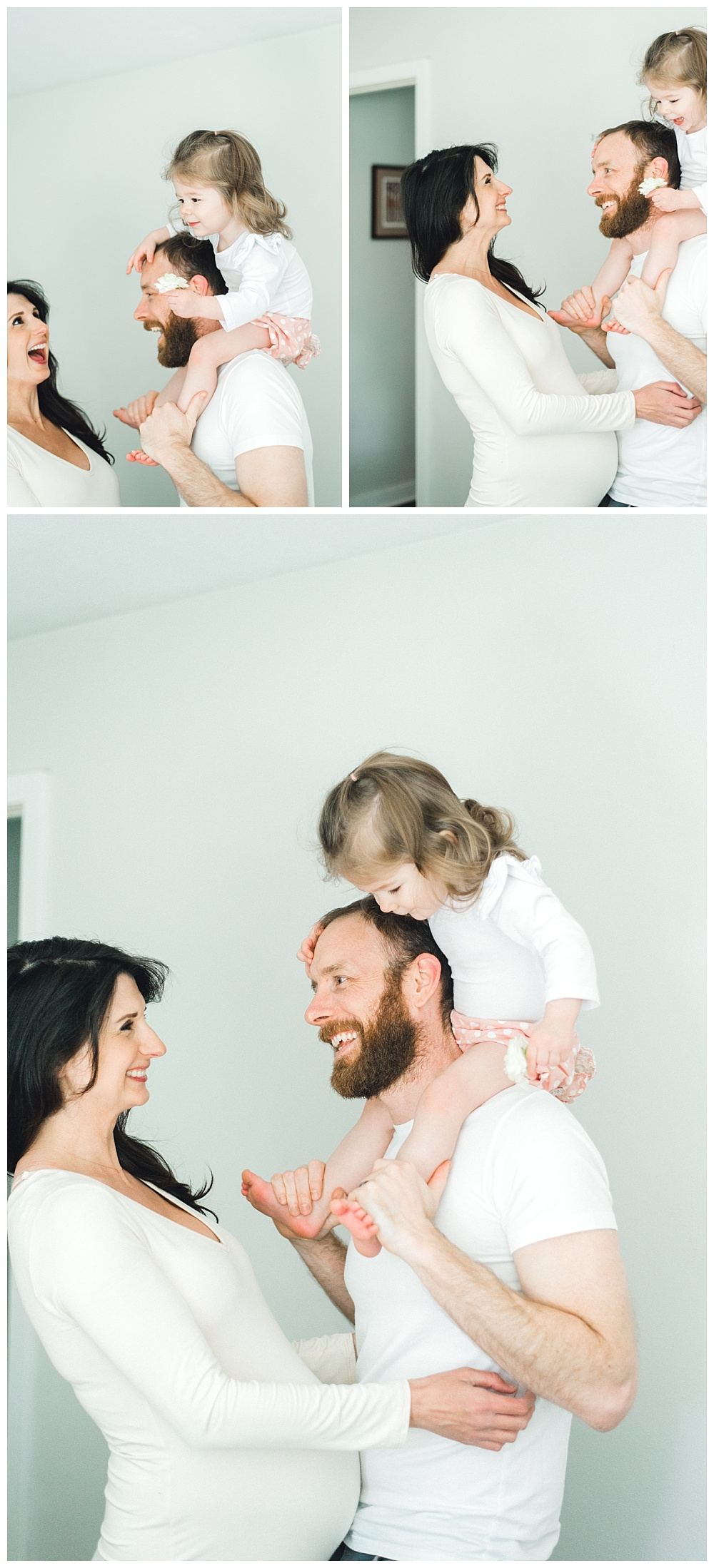 joyful family portraits. pregnant mommy playing with child on dad's shoulders.