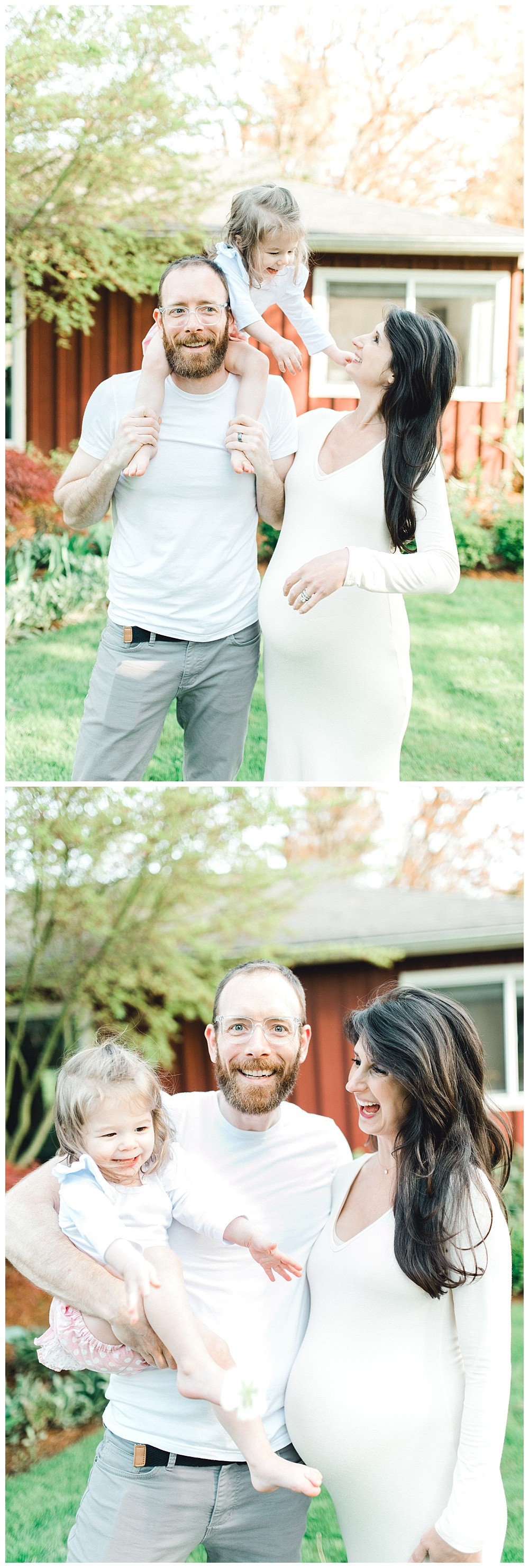 outdoor maternity photography with happy toddler girl in dad's arms