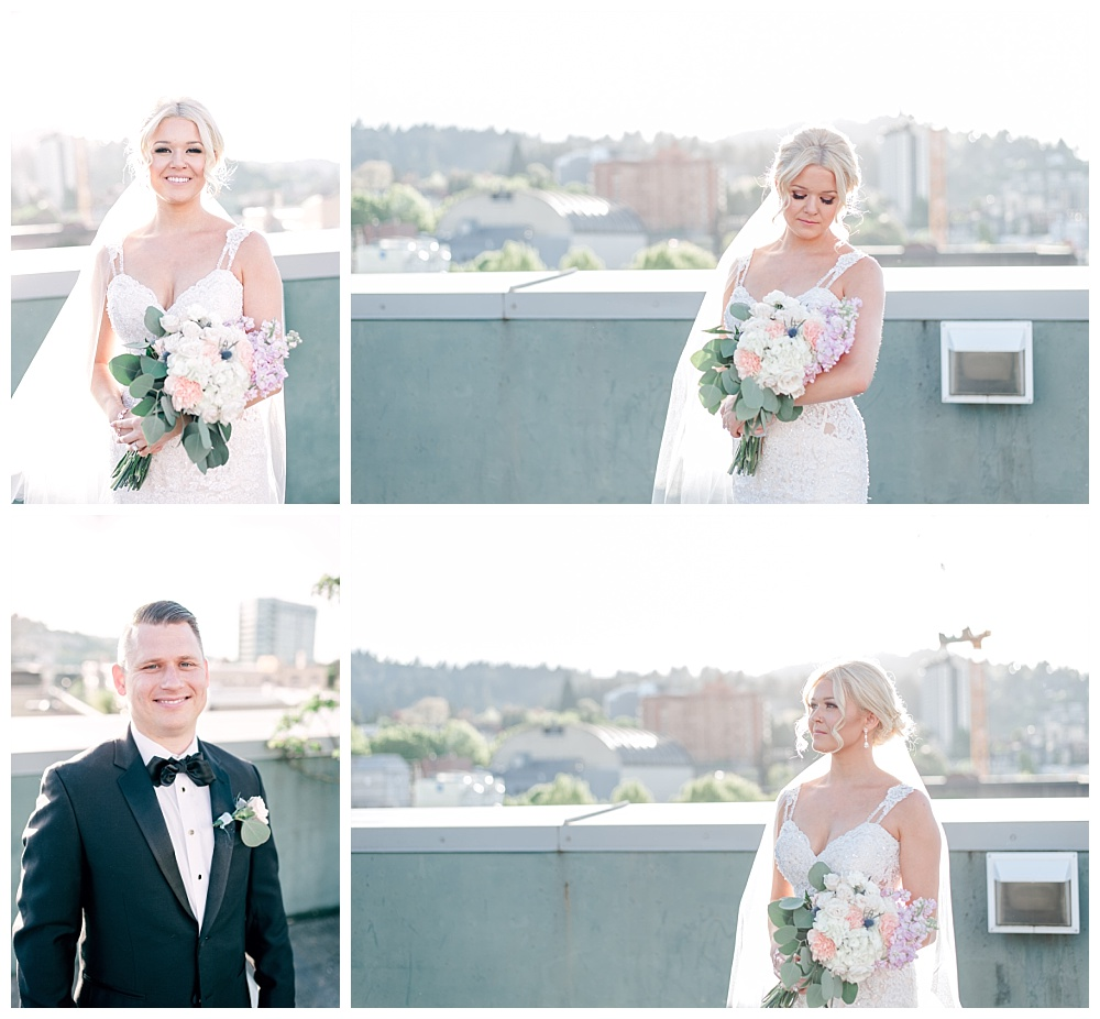 Downtown Portland rooftop couples photos of bride and groom at Hotel Deluxe wedding venue.