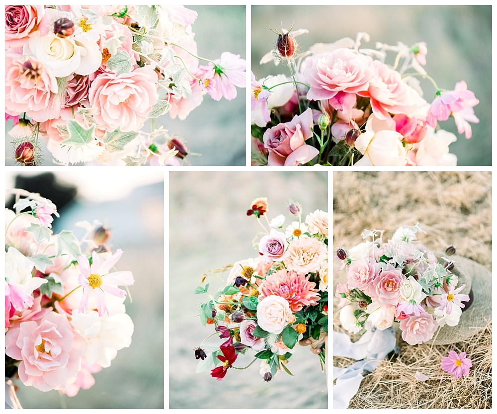 soft and airy photos of engaged couple, with pink and white bouquet and french inspired wardrobe in Oregon Field