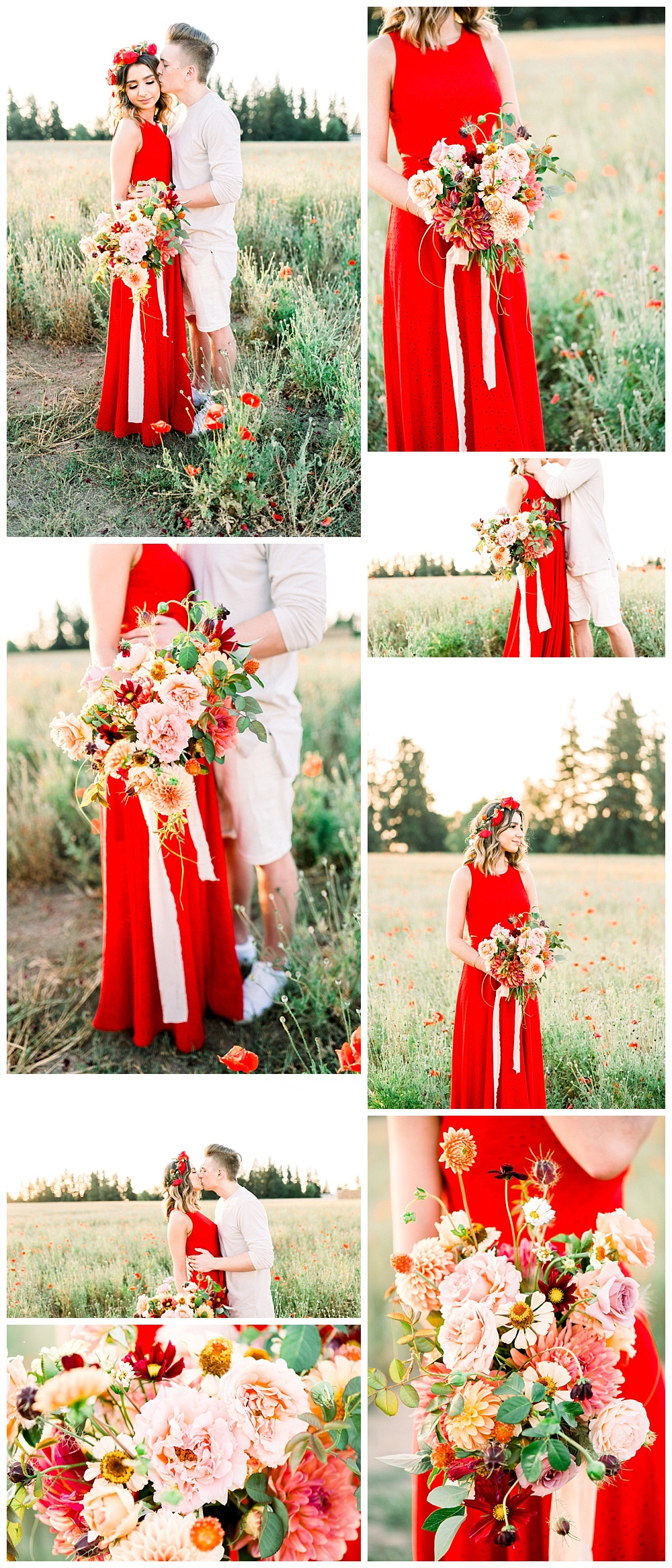 engagement session with bright red dress in rural oregon flower fields outside of Portland.