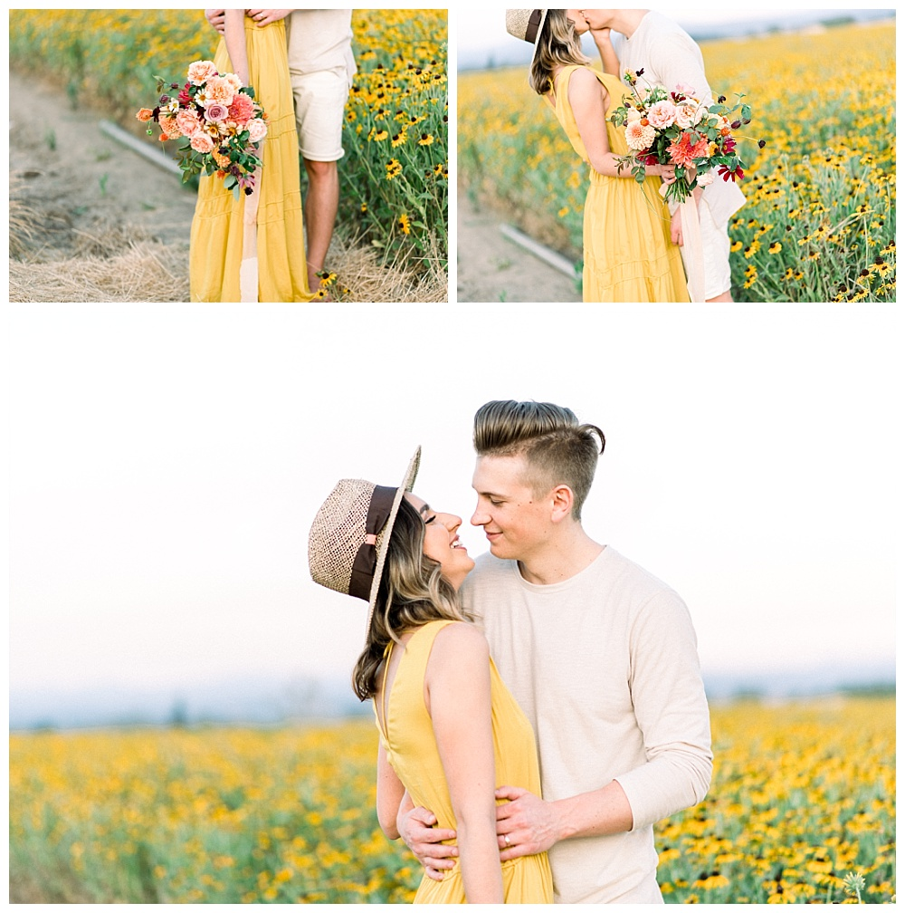 engagement session with bright yellow dress in rural oregon flower fields outside of Portland.