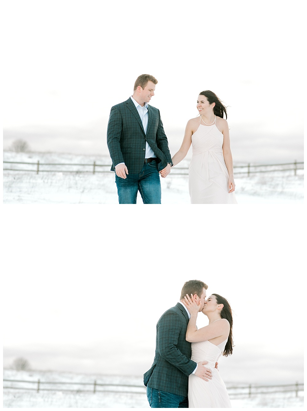 Snowy Portland Oregon engagement session in open field.