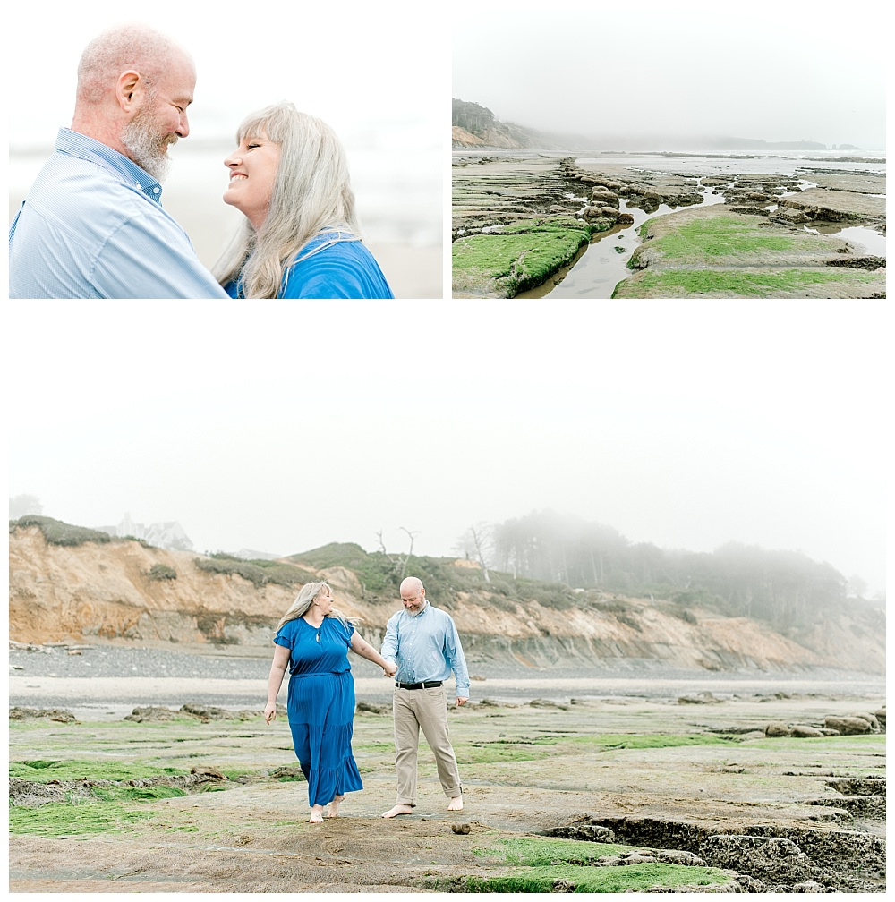 landscape photos of misty oregon coast engagement session at low tide. lauryn kay photography